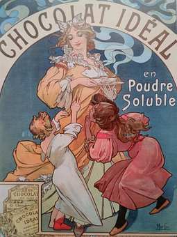 Chocolat, Woman, Children, Young, Kids, Art Nouveau