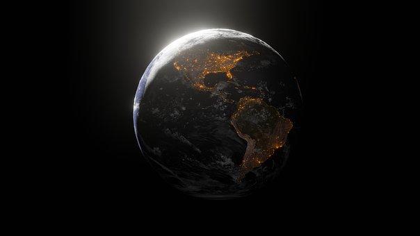 Earth, Space, Globe, Night, World, Lights, Atmosphere
