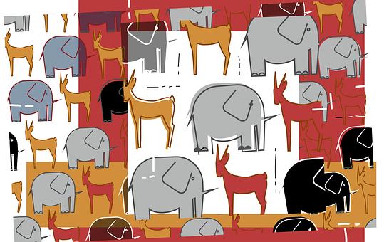 Drawings, Elephants, Africa, Gazelles, Animals, Mammals
