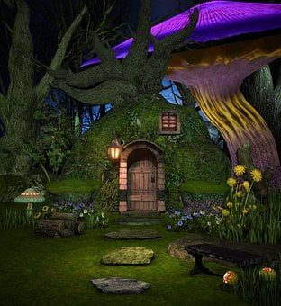 Cabin, Hut, Tree, Moss, Fairy, Fantasy, Forest