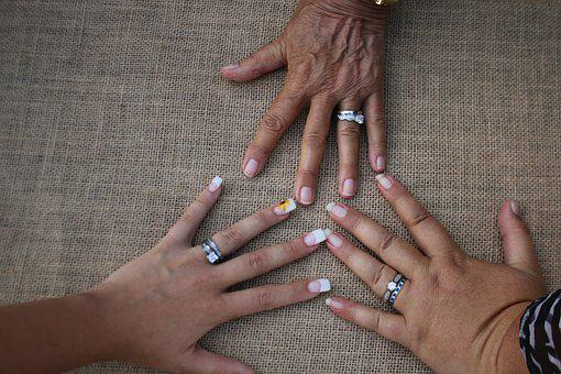 Hands, Family, Union, Rings, Grandmother, Daughter