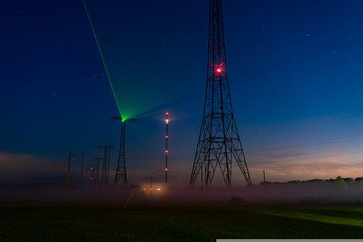 Tower, Structure, Light, Night, Star, Radio, Landscape