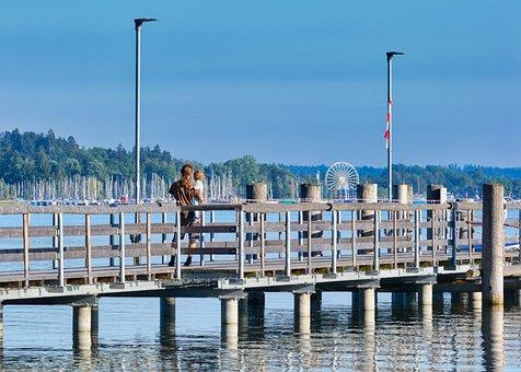 Boardwalk, Pier, Father, Child, Look, Nature, Sky