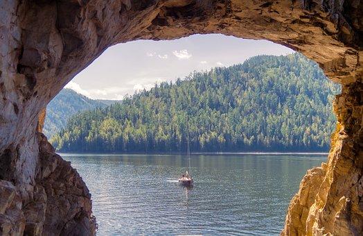 Sea, Boat, Wave, Siberia, Mountains, Rocks, Window