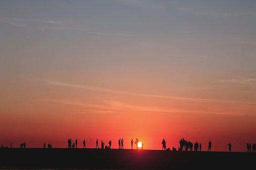 Sunset, People, Group, Crowd, Panorama, Sunlight