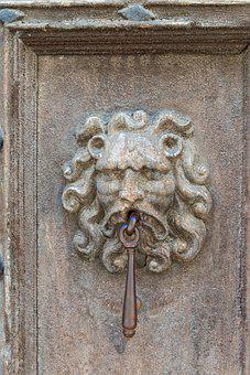 Lion, Head, Door, Knocker, Iron, Metal, Ornate, Wooden