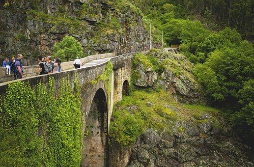 Bridge, Mountain, Greenery, Cement, Road, Scenery