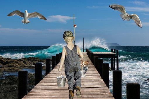 Boy, Fishing, Childhood, Pet, Dog, Sea, Ocean, Dock
