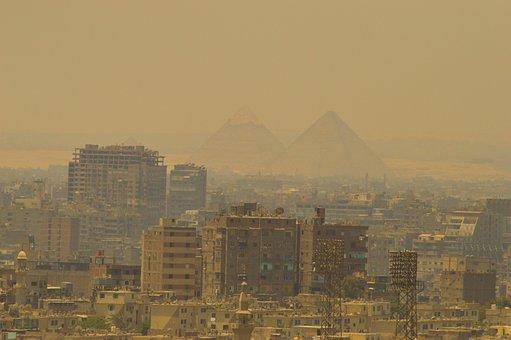 Urban, Smog, Pyramids, Pollution, City, Skyline