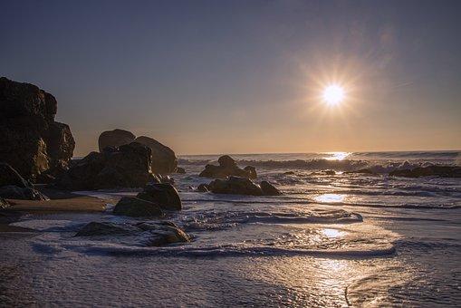Sun, Ocean, Sea, Rocks, Water, Waves, Reflection, Beach