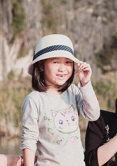 Kid, Girl, Hat, Asian, Smile, Childhood