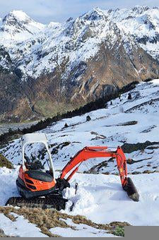 Excavator, Mountain, Slope, Snow, Machine, Shovel
