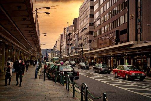 City, Urban, Street, Boulevard, Evening, Pedestrian