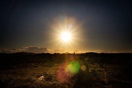 Sunset, Sun, Sunrays, Sunshine, Landscape