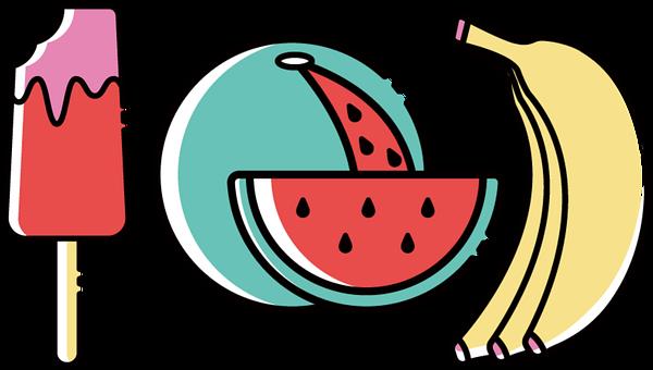 Fruit, Watermelon, Banana, Ice, Popsicle, Tropical