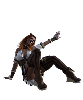 Woman, Steampunk, Fantasy, Happy, Sitting