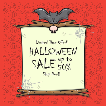 Poster, Halloween, Sale, Promotion, Bat, Spiderweb