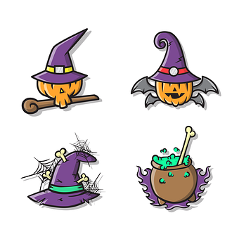 Pumpkin, Witch, Hat, Bones, Potion, Bat, Spiderweb