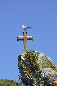 Cross, Rocks, Bird, Mountain, Plants, Weeds, Symbol