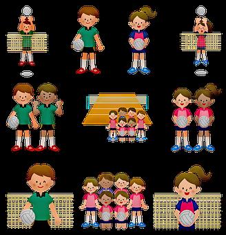 Volleyball, Boy, Girl, Afro American, Children, Kids