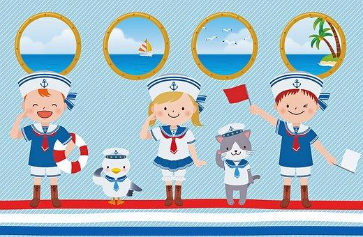 Kawaii Animals, Nautical, Kawaii, Cute, Cartoon