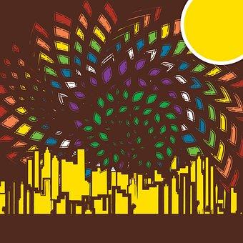 City, Buildings, Urban, Rainbow, Colorful, Pride