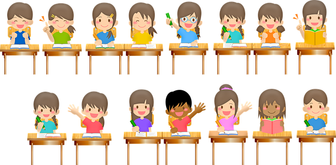 School Children, Desks, School, Classroom, Teacher