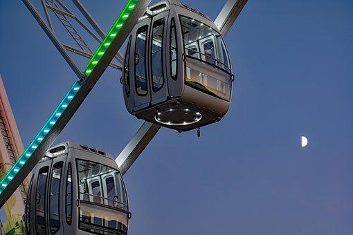 Fun, Entertainment, Event, Gondola, Ferris Wheel, Night