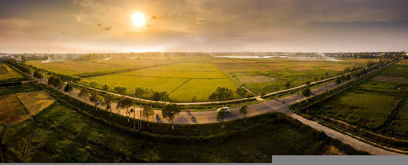 Fields, Grass, Agroculture, Road, Highway, Freeway