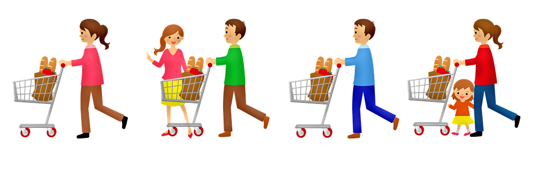 Grocery Shopping, Grocery Cart, Supermarket, Shopping