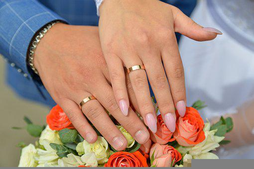 Hands With Rings, Just Married, Wedding Rings