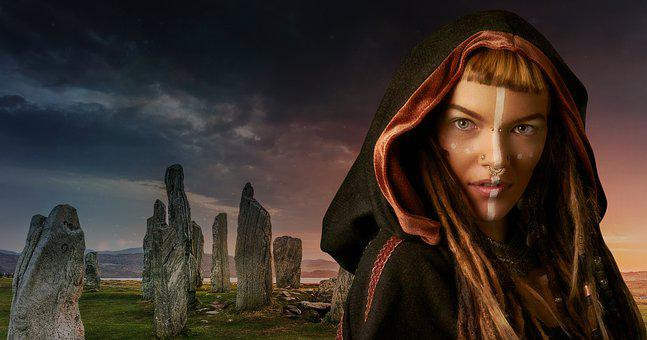 Woman, Female, Stone Circle, Standing Stones, Landscape