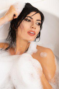Model, Girl, Portrait, Bath Tub, Cosmetics, Bathing
