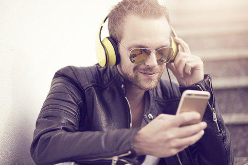 Man, Music, Phone, Headphones, Smartphone, Listening