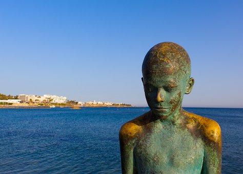 Boy, Statue, Bronze, Sea, Ocean, Sad, Thoughtful