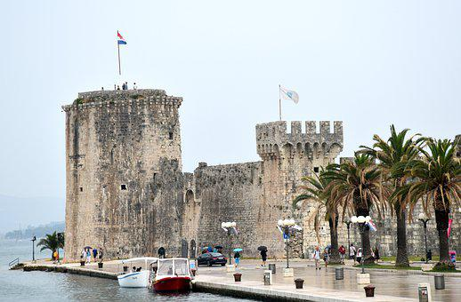Castle, Palm, Medieval, Tower, Building, Flags, Boats