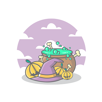 Pumpkins, Hat, Witch, Bones, Skull, Potion, Halloween