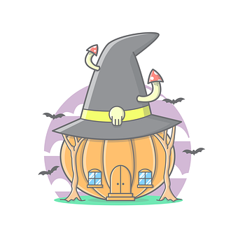 Haunted, House, Raven, Bats, Trees, Hat, Witch