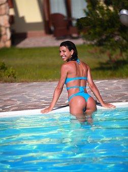 Woman, Smile, Bikini, Pool, Swimming, Water, Relaxation