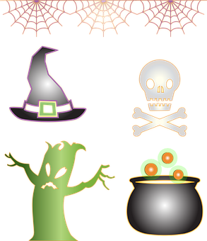 Icons, Halloween, Witch, Spooky, Monster, Tree