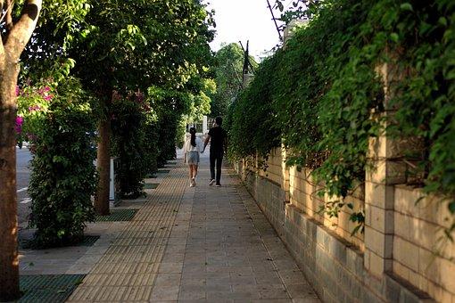 Couple, Street, Sidewalk, Pavement, Trees, Neighborhood