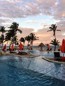 Pool, Palm Trees, Beach, Ocean, Hotel, Resort, Water