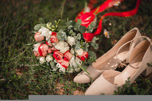 Bridal Bouquet, Bouquet, Wedding Shoes, Shoes, Grass