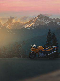 Mountains, Forest, Road, Motorcycle, Bike, Vehicle, Bmw