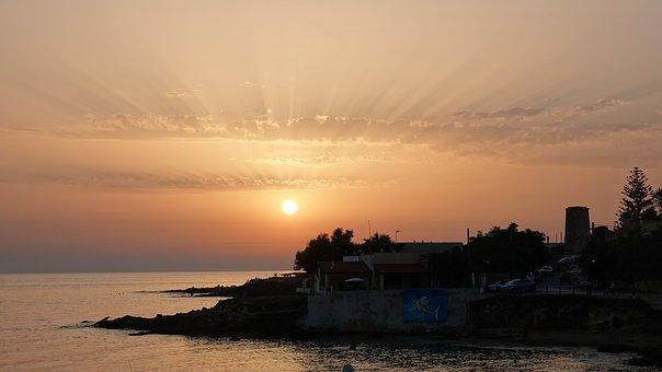 Sunset, Rays, Sun, Sea, Coast, Shore, Clouds, Nature