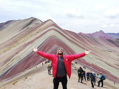 Man, Wanderer, Mountain, Rainbow, Colorful, Destination