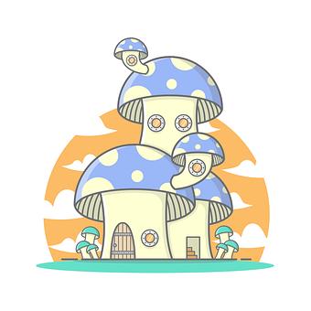 Mushroom, House, Door, Fantasy, Fairytale, Window