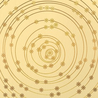 Flowers, Floral, Circles, Golden, Beige, Pattern