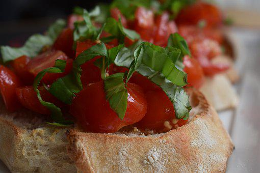 Food, Bruschetta, Bread, Tomatoes, Delicious, Healthy