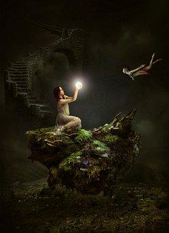 Girl, Rock, Forest, Moss, Mossy, Light, Magic, Fairy
